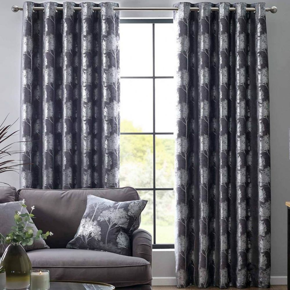 Luxury Enchanted Forest Chenille Silver Metallic Tree Design Eyelet Fully Lined Curtains Charcoal
